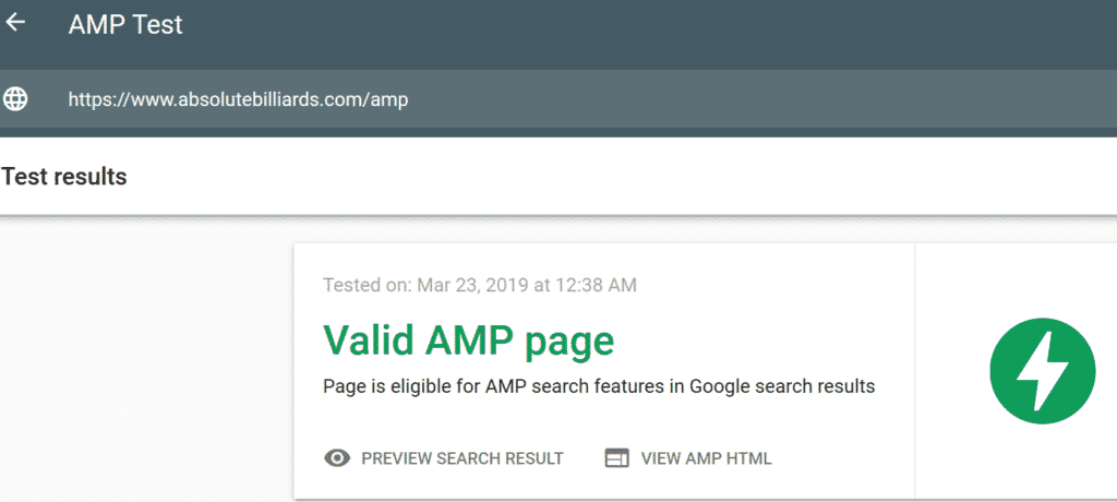 Google AMP Pool Table Website