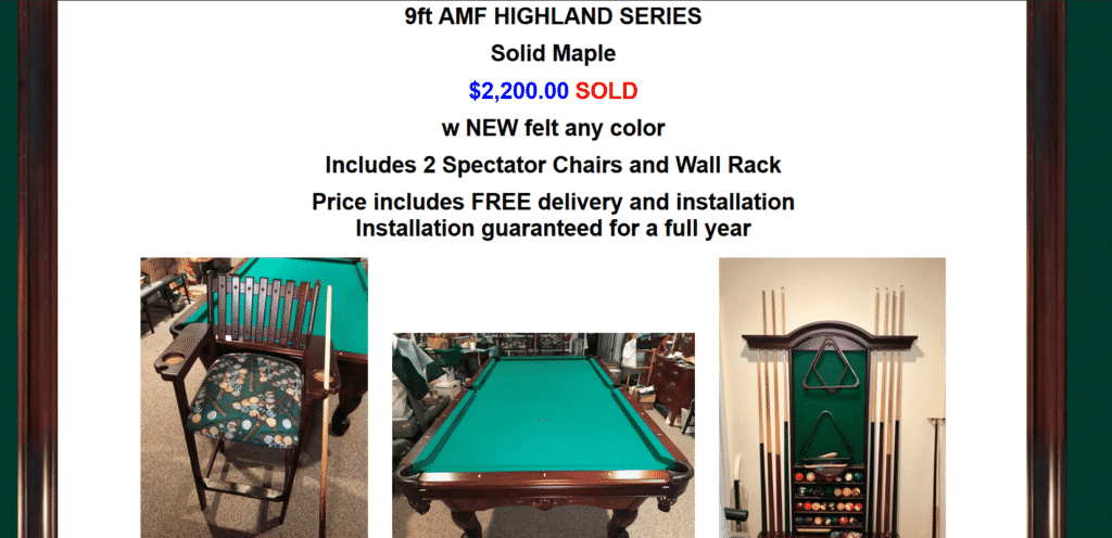 Sell Pool Tables Online